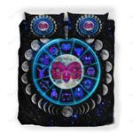 Custom Bedding Aries Astrology Moon Phases Neon Sign Bedding Set