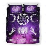 Custom Bedding Wicca Sun And Moon Blessed Be Witch Magical Galaxy Bedding Set