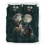 Custom Bedding Wolf in Dark Night Bedding Set