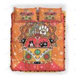Custom Bedding Hippie Cat, Happy Car Orange Color Bedding Set