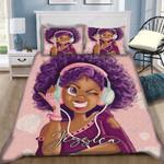 Custom Bedding Black Girl Cute Purple Music Personalized Name Duvet Cover Bedding Set