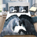 Custom Bedding Black Horse And White Horse Bedding Set
