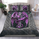 Custom Bedding Purple & Silver Dragon Art Bedding Set