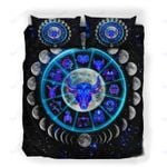 Custom Bedding Taurus Astrology Moon Phases Neon Sign Bedding Set