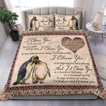 Custom Bedding Couple Penguin - I Choose You Watercolor Bedding Set