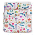 Custom Bedding Watercolor Ocean Bedding Set with Whales and Fish