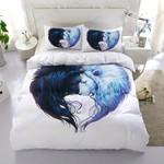 Custom Bedding Aggressive Lion White Couple Bedding Set