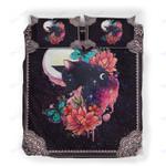 Custom Bedding Black Cat Butterfly Flower Watercolor Bedding Set