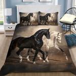 Custom Bedding Black And White Horses Bedding Set
