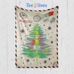 Custom Blanket Letter Funny Dragonfly Christmas Tree Blanket
