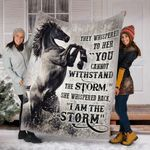 Custom Blanket Horse I Am The Storm Blanket - Fleece Blanket