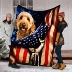 Custom Blanket Goldendoodle Dog American Flag Blanket - Dog Gifts - Fleece Blanket