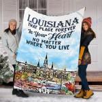 Custom Blanket Louisiana In Your Heart Blanket - Fleece Blanket