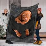 Custom Blanket Vizsla Pocket Dog Blanket - Fleece Blanket