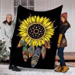 Custom Blanket Dream Catcher Sunflower Blanket - Fleece Blanket
