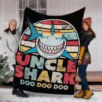 Custom Blanket Uncle Shark Blanket - Perfect Gift For Uncle - Fleece Blanket