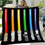 Custom Blanket LGBT Flag Light Swords Gay Pride Sword Gift Blanket - Fleece Blanket