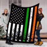 Custom Blanket Irish American Flag Ireland Flag ST. PATRICK'S DAY Blanket - Fleece Blanket