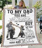 Custom Blanket Motorcycle To My Dad Blanket - Gift For Dad - Fleece Blanket