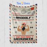 Custom Blanket Letter Brodolf The Red Nose Gainzdeer Gym Ugly Christmas Blanket