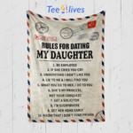 Custom Blanket Personalized Letter Rules For Dating My Daughter BlanketBlanket - Gift for Daughter