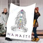 Custom Blanket Namaste Blannket - Yoga Pose with Chakra Blanket - Fleece Blanket
