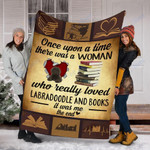 Custom Blanket Labradoodle Dog And Books Blanket - Fleece Blanket
