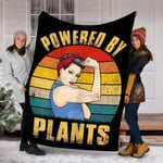 Custom Blanket Powered By Plants Retro Women's Vegan Fitness Blanket - Fleece Blanket