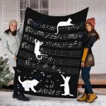 Custom Blanket Cat Kitty Playing Music Blanket - Fleece Blanket