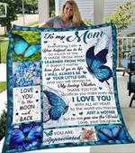 Custom Blanket Butterflies To My Mom Blanket - Gift For Mom - Fleece Blanket