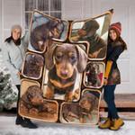 Custom Blanket 3D Dachshund Dog Blanket - Dog Gift - Fleece Blanket