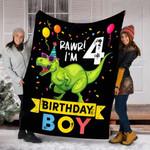 Custom Blanket 4th Birthday Boy T Rex Dinosaur Blanket - Gift For Kids - Fleece Blanket