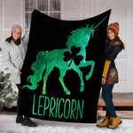 Custom Blanket Lepricorn Unicorn St Patricks Day Blanket - Fleece Blanket