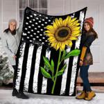 Custom Blanket Sunflower American Flag Patriotic 4th Of July Blanket - Fleece Blanket