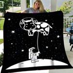 Custom Blanket Astronauts Cool Space Day in Planet Blanket - Fleece Blanket