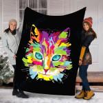 Custom Blanket Cat Face Multi-Colored Art Blanket - Fleece Blanket