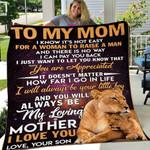 Custom Blanket To My Mom Lion Blanket - Gift For Mom - Fleece Blanket