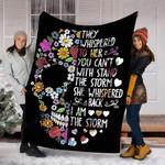 Custom Blanket They Whispered To Her Flower Skull Blanket - Fleece Blanket