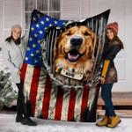 Custom Blanket Golden Retriever Dog Personalized Name Blanket 1 - Fleece Blanket