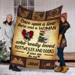 Custom Blanket Rottweiler Dog And Books Blanket - Fleece Blanket