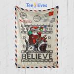 Custom Blanket Letter Believe in Santa Riding Shark Christmas Ugly Sweater Blanket