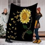 Custom Blanket Sunflower Childhood Cancer Awareness Blanket - Fleece Blanket