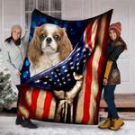 Custom Blanket Cavalier King Charles Spaniel Dog American Flag Blanket  - Fleece Blanket