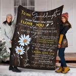 Custom Blanket Sunflower To My Granddaughter Blanket - Fleece Blanket