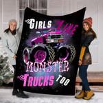 Custom Blanket Girls Like Monster Trucks Too Blanket - Fleece Blanket
