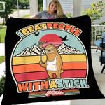 Custom Blanket Lacrosse Sloth. Retro Style I Beat People With A Stick Blanket - Fleece Blanket