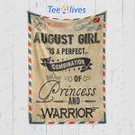 Custom Blanket Letter August Girl Princess and Warrior Blanket - Happy Birthday Daughter