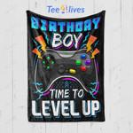 Custom Blanket Birthday Boy Time to Level Up Video Game Blanket