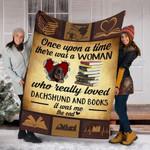 Custom Blanket Dachshund Dog And Books Blanket - Fleece Blanket