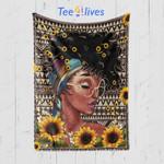 Custom Blanket Black Woman Sunflower Blanket - Gift for Girls Woman - Fleece Blanket